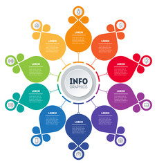 Business presentation concept with 10 options. Web Template of info chart or diagram with ten steps. Vector infographic of technology or education with 10 process. Flower.