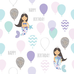 Mermaid birthday seamless pattern background. Cute cartoon characters. Vector