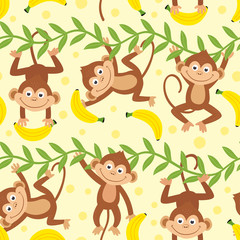 seamless pattern with funny monkey hanging from liana  - vector illustration, eps