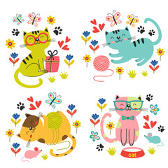 set of isolated cute cats in flowers - vector illustration, eps