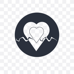 Heart beats lifeline in a heart vector icon isolated on transparent background, Heart beats lifeline in a heart logo design