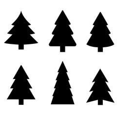 Christmas tree icon, silhouette, logo on white background
