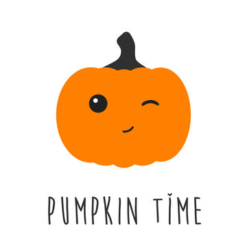 Pumpkin time cute winking character with text.