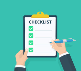 Wall Mural - Man hold Checklist clipboard with checklist. Questionnaire, survey, clipboard, task list. Flat design, vector illustration on background.