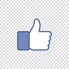 Thumbs up like social network icon with new appreciation number symbol. Vector social media illustration.