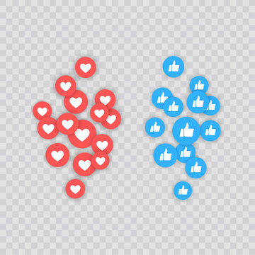 Like and Heart icon. Live stream video, chat, likes. Social nets like red heart web buttons isolated on white background. Vector illustaration.