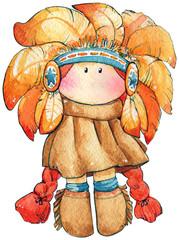 Watercolor tilda doll West