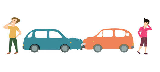 Two men with two cars accident. Cartoon Illustration.