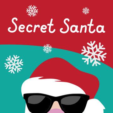 Cartoon Secret Santa Christmas party background template