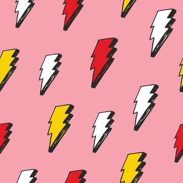 Lightning seamless pattern vector illustration. Hand drawn sketched doodle lightning symbols