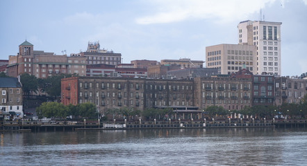 Stately Architecture and Buidlings Line the Waterfront in Savannah Georgia