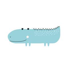 Cute little crocodile. Kids graphic. Vector hand drawn illustration.