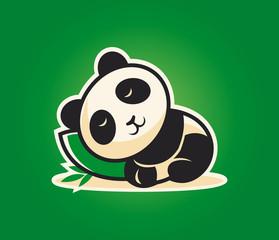 Cute panda character sleeping on a pillow
