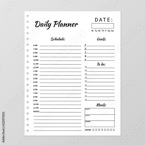 photograph relating to Daily Planner Notebook called Minimalist day by day planner template. Blank white laptop web site