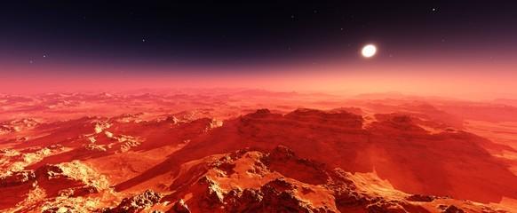 Martian landscape. Panorama of Mars. Alien landscape.