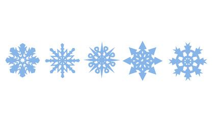 Set of decorative blue snowflakes. Snowflakes icon. Seasonal winter collection illustration.