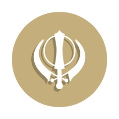 Sikhism Khanda sign icon in badge style. One of religion symbol collection icon can be used for UI, UX
