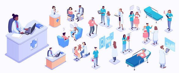 Isometric illustration of medical workers and patients. Hospitals, doctors, patients, reception. healthcare and technology concept