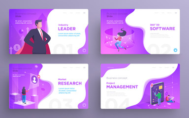 Presentation slide templates or hero banner images for websites, or apps. Business concept illustrations. Modern flat style