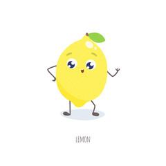 Cute cartoon lemon vector illustration.