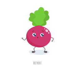 Cute cartoon beetroot vector illustration.