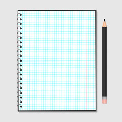 Opened notebook with metallic spiral and pencil isolated on grey. Blank checkered paper sheet. Stationery for education and business. Realistic vector illustration.