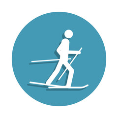 Silhouette Skier icon in badge style. One of Winter sports collection icon can be used for UI, UX