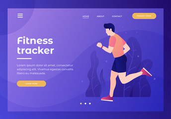 Title for the website. Homepage. A young man is running in sportswear. Concept of sport and a healthy lifestyle. Fitness and coaching. Vector flat image.