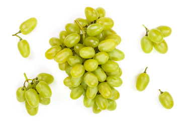 green grapes isolated on the white background. Top view. Flat lay pattern