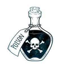 Poison in bottle line art and dot work hand drawn vector illustration. Boho style sticker, patch, print or blackwork flash tattoo design.