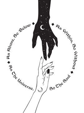 Hand of universe reaching out to human hand. Inscription is a maxim in hermeticism and sacred geometry. As above, so below. Black work, flash tattoo or print design vector illustration