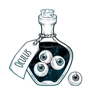 Eyeballs in glass bottle isolated. Sticker, patch, print or blackwork tattoo design hand drawn halloween art vector illustration. Latin inscription says EYE.