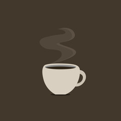 Flat design business Vector Illustration concept Empty template copy space Posters coupons promotional material. Cup Filled up of Coffee or Tea Steaming Hot with steam icon and shadow