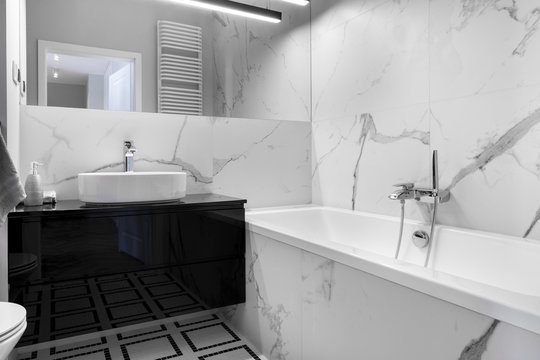 Modern bathroom with marble finishing