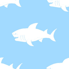 Shark seamless pattern, Hand drawn sketched doodle shark, vector illustration
