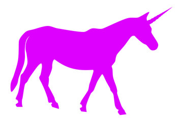 Vector illustration of a pink unicorn isolated in a transparent or white background. The body of a horse with a corner.