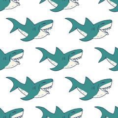 Shark seamless pattern, Hand drawn sketched doodle shark, vector illustration