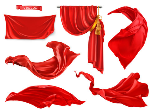Red curtain. 3d realistic vector set