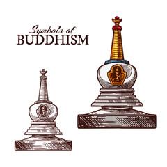 Buddhism religion symbol of buddhist stupa sketch