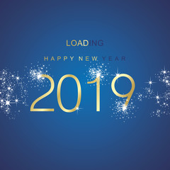 New Year 2019 loading spark firework gold blue vector