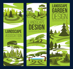 Landscape design, green tree and plant