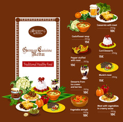 German cuisine menu with restaurant dishes