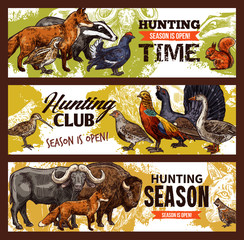 Hunting sport banners, animals and birds