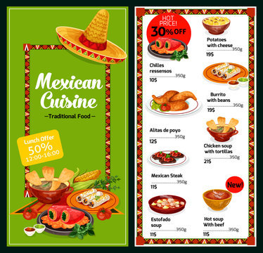 Mexican national restaurant menu dishes