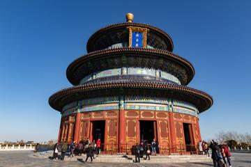 Fotobehang Beijing BEIJING, CHINA - DEC 19, 2017: Temple of Heaven of Beijing at daytime with blue sky wide shot