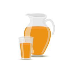 Vector orange juice in transparent glass jar and cup