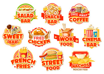 Fast food restaurant labels, burgers and drinks