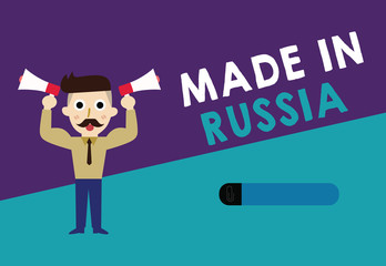 Writing note showing Made In Russia. Business photo showcasing A product or something that is manufactured in Russia.