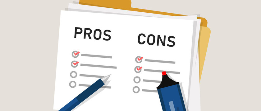 pros cons concept on decision making process. Listing positive and negative for a solution or choice. research question survey. mark on paper