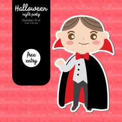Cute Halloween design concept with boy in Dracula costume for poster, banner, party invitation, greeting card. Vector Illustration.